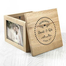 Load image into Gallery viewer, Couples' Oak Photo Keepsake Box with Heart Frame - One of a Kind Gifts UK
