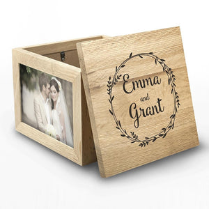 Couple's Oak Photo Keepsake Box With Wreath Design - One of a Kind Gifts UK