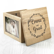 Load image into Gallery viewer, Couple's Oak Photo Keepsake Box With Wreath Design - One of a Kind Gifts UK