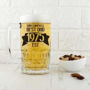 Dad Established In Beer Glass Tankard - One of a Kind Gifts UK