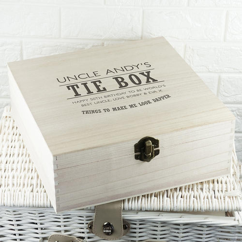 Dashing Gentleman's Tie & Accessory Wooden Box - One of a Kind Gifts UK