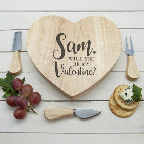 Engraved Be My Valentine Heart Cheese Board - One of a Kind Gifts UK