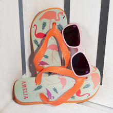 Load image into Gallery viewer, Fabulous Flamingos Child's Personalised Flop Flops - One of a Kind Gifts UK