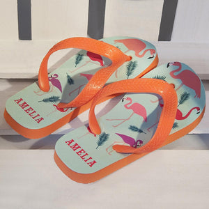 Fabulous Flamingos Child's Personalised Flop Flops - One of a Kind Gifts UK