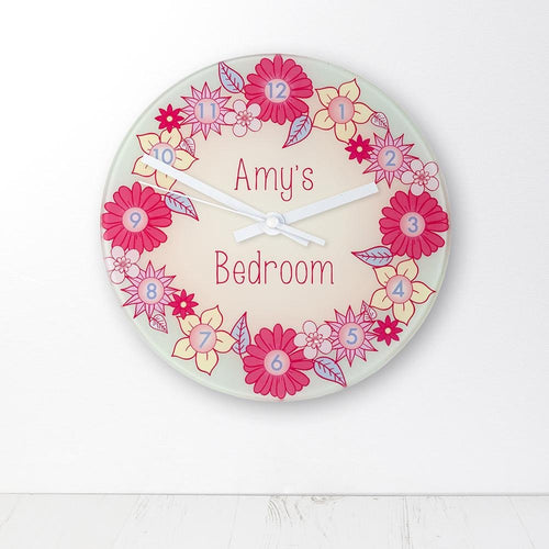 Flower Garland Personalised Little Girl's Wall Clock - One of a Kind Gifts UK