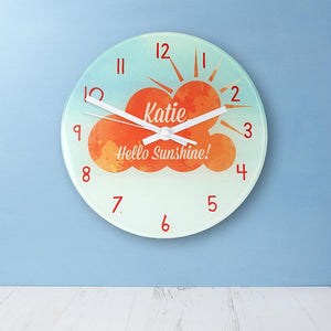 Hello Sunshine Personalised Wall Clock - One of a Kind Gifts UK