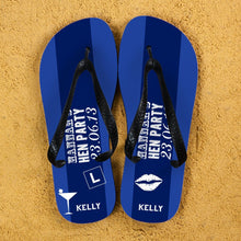 Load image into Gallery viewer, Hen Party Personalised Flip Flops in Dark Blue - One of a Kind Gifts UK