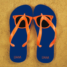 Load image into Gallery viewer, Holiday Style Personalised Flip Flops in Blue and Orange - One of a Kind Gifts UK