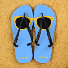 Load image into Gallery viewer, Holiday Style Personalised Flip Flops in Blue and Yellow - One of a Kind Gifts UK