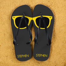 Load image into Gallery viewer, Holiday Style Personalised Flip Flops in Grey and Yellow - One of a Kind Gifts UK