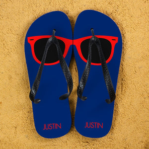 Holiday Style Personalised Flip Flops in Navy and Red - One of a Kind Gifts UK