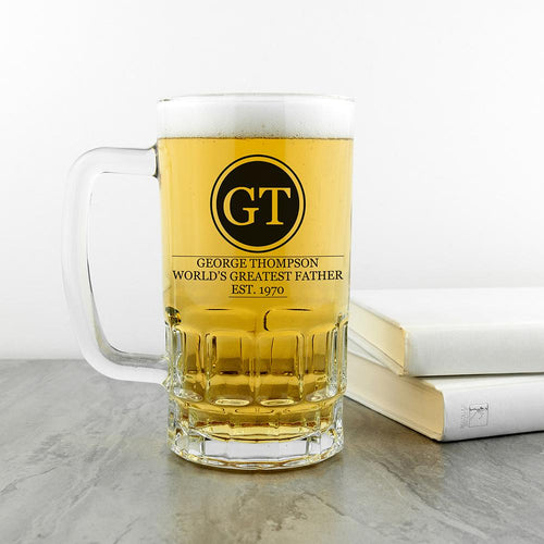 Initials Circled Beer Glass Tankard - One of a Kind Gifts UK