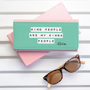 Kind People (Green) Pink Wallet - One of a Kind Gifts UK