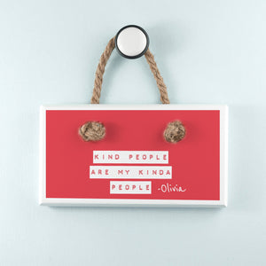 Kind People (Red) White Hanging Sign - One of a Kind Gifts UK