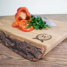 Load image into Gallery viewer, Large Rustic Welsh Ash Chopping Board with Olympic Monogram - One of a Kind Gifts UK