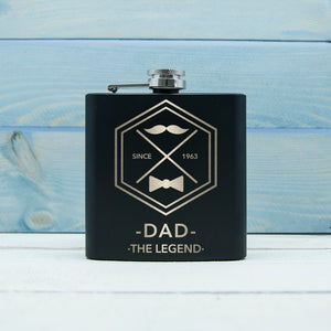 Legend Dad's Black Hip Flask