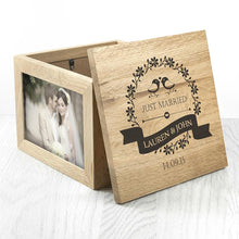 Load image into Gallery viewer, Love Birds' Oak Photo Keepsake Box - One of a Kind Gifts UK