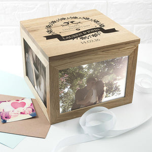 Love Birds' Oak Photo Keepsake Box - One of a Kind Gifts UK