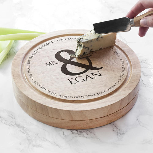 Love Makes The World Go Round Cheese Board Set - One of a Kind Gifts UK