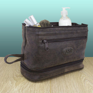 Men's Personalised Expandable Suede Textured Wash Bag - One of a Kind Gifts UK
