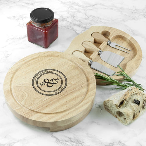 Monogram Couple Cheese Board Set - One of a Kind Gifts UK