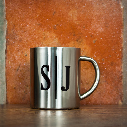 Monogram Initial Landscape Silver Outdoor Mug - One of a Kind Gifts UK