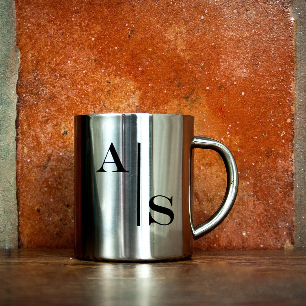 Monogram Stylised Initial Silver Outdoor Mug - One of a Kind Gifts UK