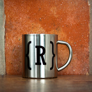 Monogram Swirl Bracket Silver Outdoor Mug - One of a Kind Gifts UK