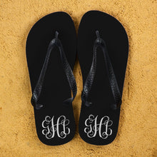 Load image into Gallery viewer, Monogrammed Flip Flops in Black and White - One of a Kind Gifts UK