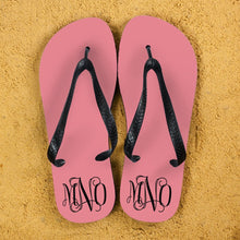 Load image into Gallery viewer, Monogrammed Flip Flops in Pink and Grey - One of a Kind Gifts UK