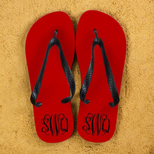 Load image into Gallery viewer, Monogrammed Flip Flops in Red and Grey - One of a Kind Gifts UK
