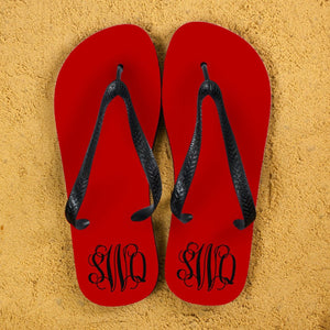Monogrammed Flip Flops in Red and Grey - One of a Kind Gifts UK