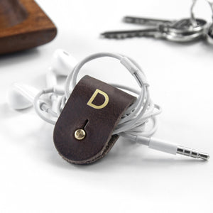 Monogrammed Leather Earphones Holder - One of a Kind Gifts UK