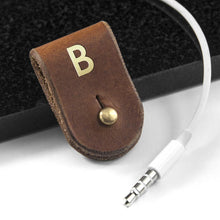 Load image into Gallery viewer, Monogrammed Leather Earphones Holder - One of a Kind Gifts UK