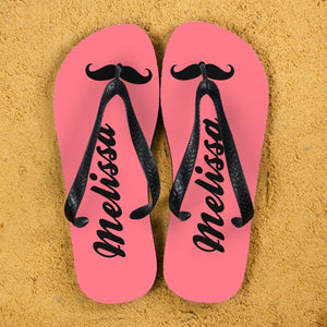 Moustache Style Personalised Flip Flops in Pink - One of a Kind Gifts UK