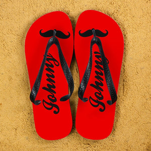Moustache Style Personalised Flip Flops in Red - One of a Kind Gifts UK