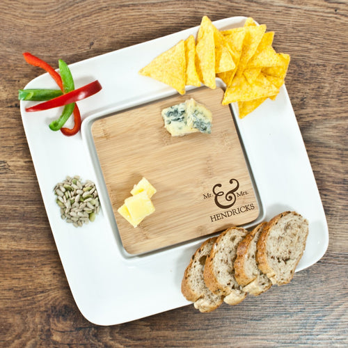 Mr & Mrs Bamboo Square Serving Platter - One of a Kind Gifts UK