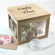 Load image into Gallery viewer, Oak Photo Keepsake Box Couple Name and Heart - One of a Kind Gifts UK