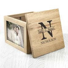 Load image into Gallery viewer, Oak Photo Keepsake Box with Couple Monogram - One of a Kind Gifts UK