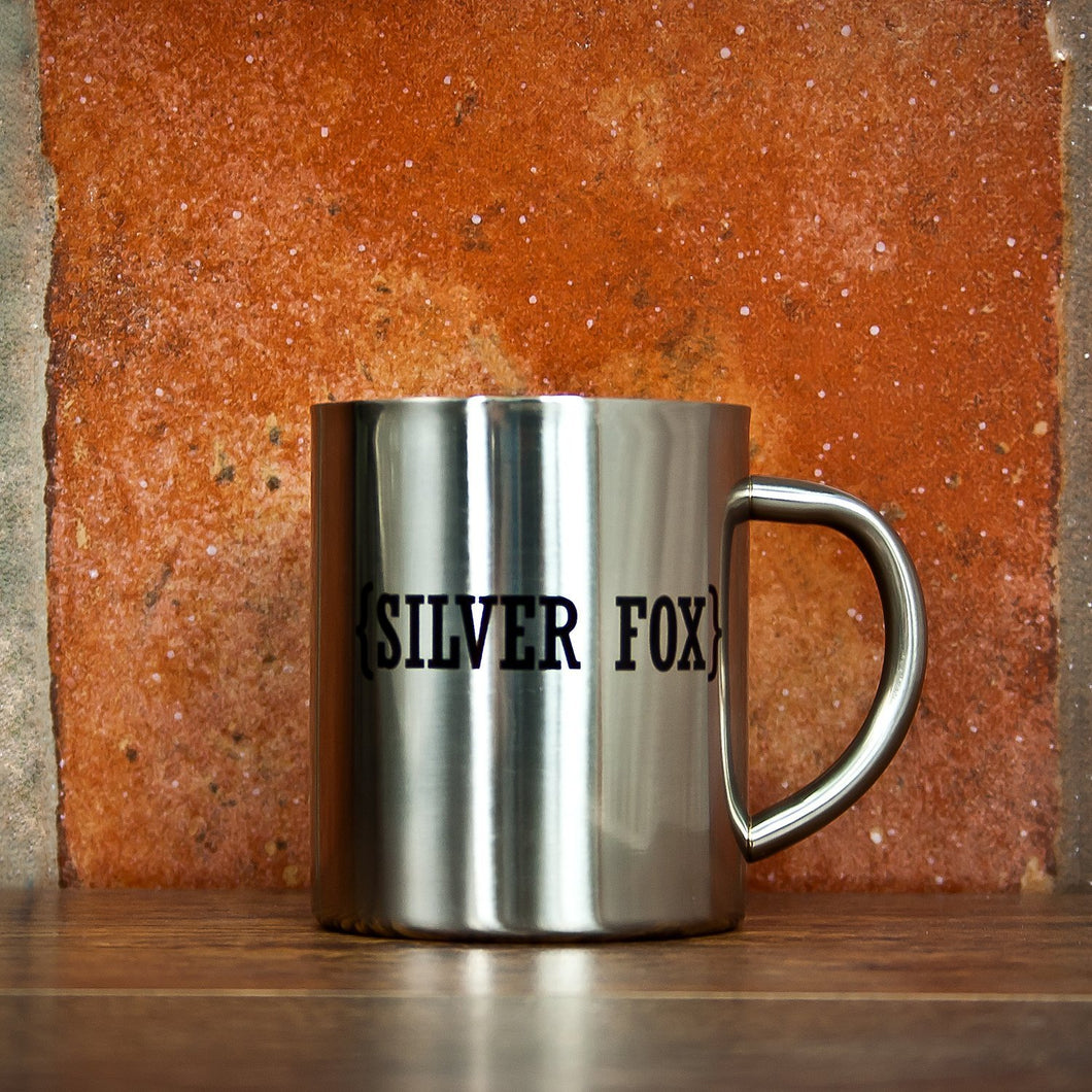 Open Personalisation with Swirl Brackets Silver Outdoor Mug - One of a Kind Gifts UK