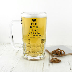 Opticians Chart Beer Glass Tankard - One of a Kind Gifts UK