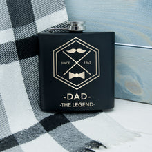 Load image into Gallery viewer, Legend Dad's Black Hip Flask