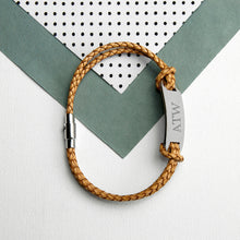 Load image into Gallery viewer, Personalised Men's Statement Leather Bracelet in Standstone