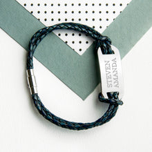 Load image into Gallery viewer, Personalised Men's Statement Leather Bracelet In Navy