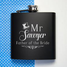 Load image into Gallery viewer, Father Of The Bride Personalised Black Matte Hip Flask