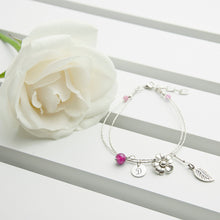 Load image into Gallery viewer, Personalised Forget Me Not Friendship Bracelet With Indian Ruby Stones