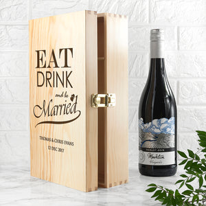 Personalised Eat Drink and Be Married Wine Box