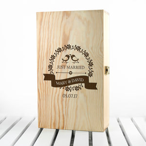 Personalised Just Married Wine Box
