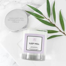 Load image into Gallery viewer, Personalised Sleep Well Soy Candle with Silver Lid