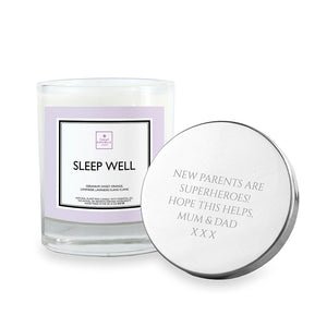 Personalised Sleep Well Soy Candle with Silver Lid
